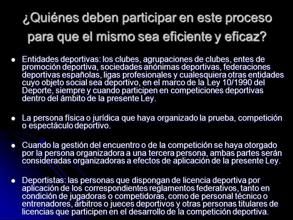 ¿Quiénes deben participar en este proceso para que el mismo sea eficiente y eficaz? Entidades deportivas: los clubes, agrupaciones de clubes, entes de