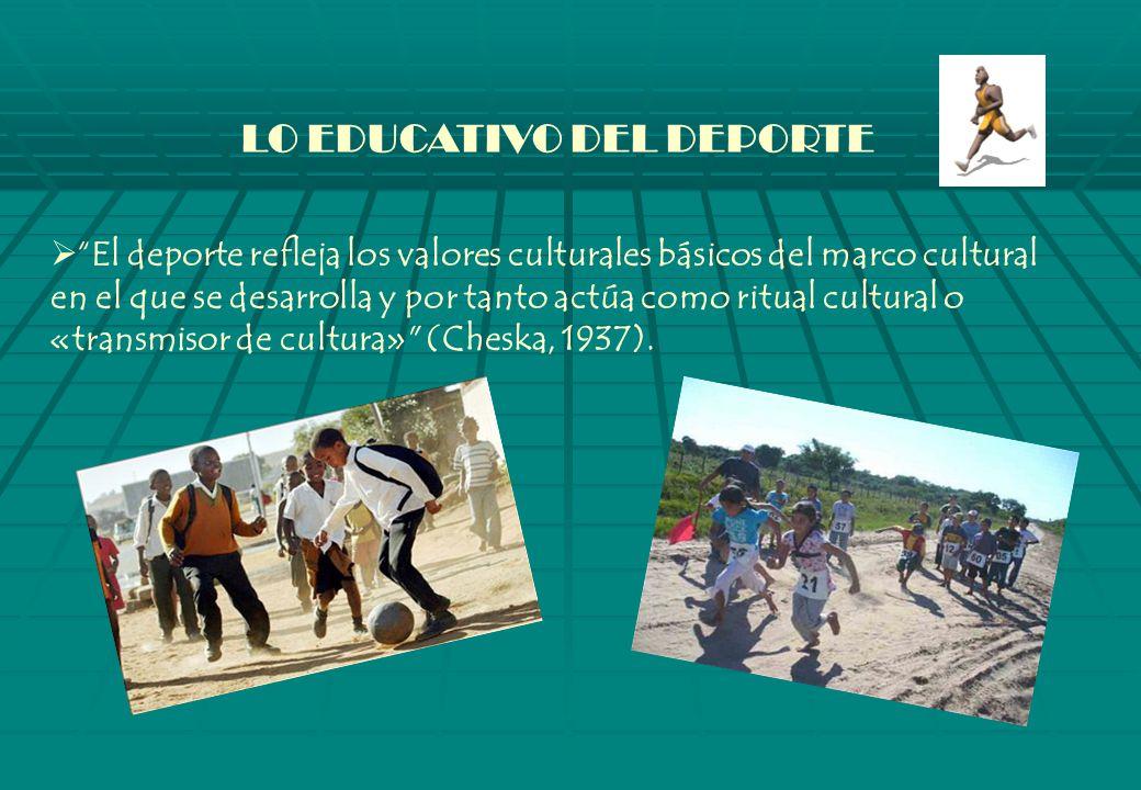 LO EDUCATIVO DEL DEPORTE El deporte refleja los valores culturales básicos del marco cultural en el que se desarrolla y por tanto actúa como ritual cultural o «transmisor de cultura» (Cheska, 1937).