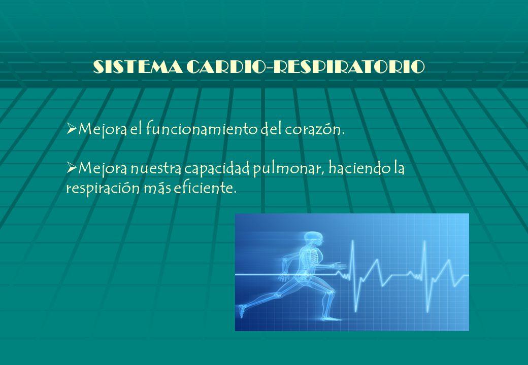 SISTEMA CARDIO-RESPIRATORIO Mejora el funcionamiento del corazón.