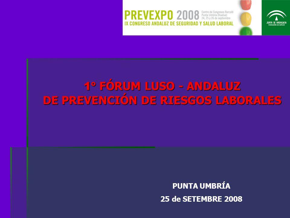 1º FÓRUM LUSO - ANDALUZ DE PREVENCIÓN DE RIESGOS LABORALES PUNTA UMBRÍA 25 de SETEMBRE 2008