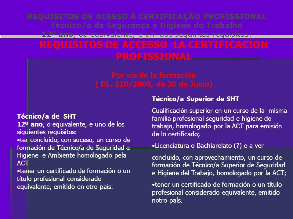 REQUISITOS DE ACESSO À CERTIFICAÇÃO PROFISSIONAL Técnico/a de Segurança e Higiene do Trabalho 12º ano, ou equivalente, e um dos seguintes requisitos: REQUISITOS DE ACCESSO LA CERTIFICACION PROFISSIONAL Por via de la formación ( DL.
