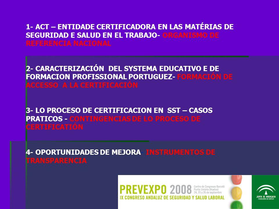 1- ACT – ENTIDADE CERTIFICADORA EN LAS MATÉRIAS DE SEGURIDAD E SALUD EN EL TRABAJO- ORGANISMO DE REFERENCIA NACIONAL 2- CARACTERIZACIÓN DEL SYSTEMA EDUCATIVO E DE FORMACION PROFISSIONAL PORTUGUEZ- FORMACIÓN DE ACCESSO A LA CERTIFICACIÓN 3- LO PROCESO DE CERTIFICACION EN SST – CASOS PRATICOS - CONTINGENCIAS DE LO PROCESO DE CERTIFICATIÓN 4- OPORTUNIDADES DE MEJORA- INSTRUMENTOS DE TRANSPARENCIA