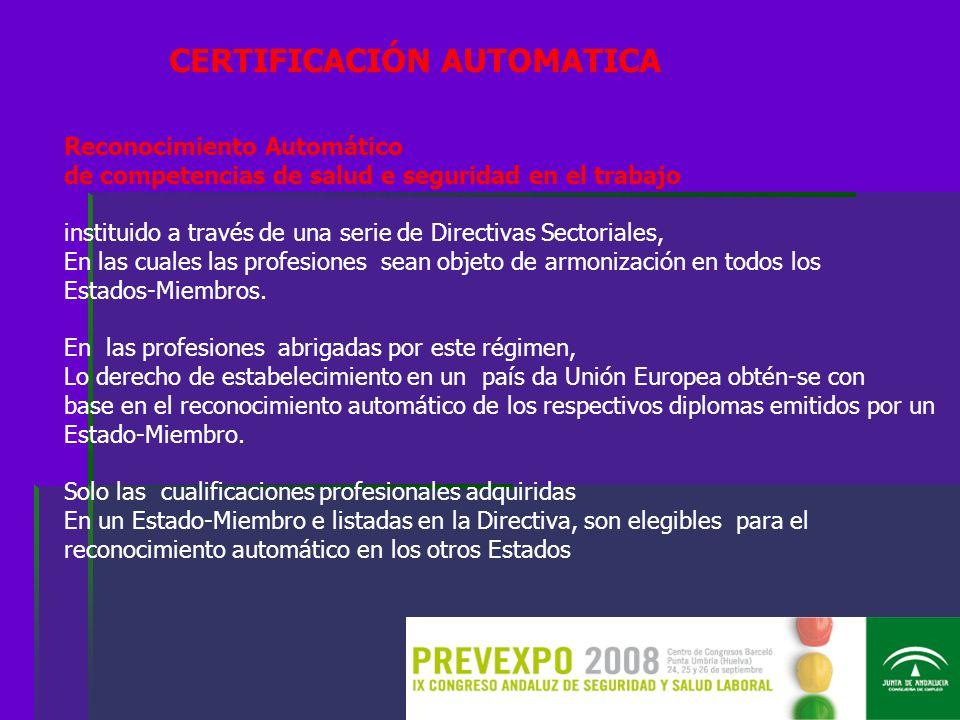 Reconocimiento Automático de competencias de salud e seguridad en el trabajo instituido a través de una serie de Directivas Sectoriales, En las cuales las profesiones sean objeto de armonización en todos los Estados-Miembros.
