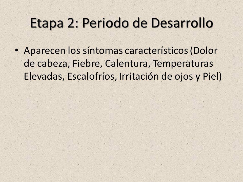 Etapa 2: Periodo de Desarrollo Aparecen los síntomas característicos (Dolor de cabeza, Fiebre, Calentura, Temperaturas Elevadas, Escalofríos, Irritación de ojos y Piel)