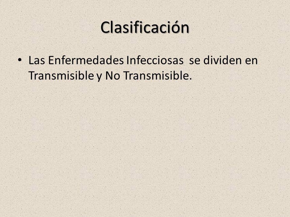 Clasificación Las Enfermedades Infecciosas se dividen en Transmisible y No Transmisible.