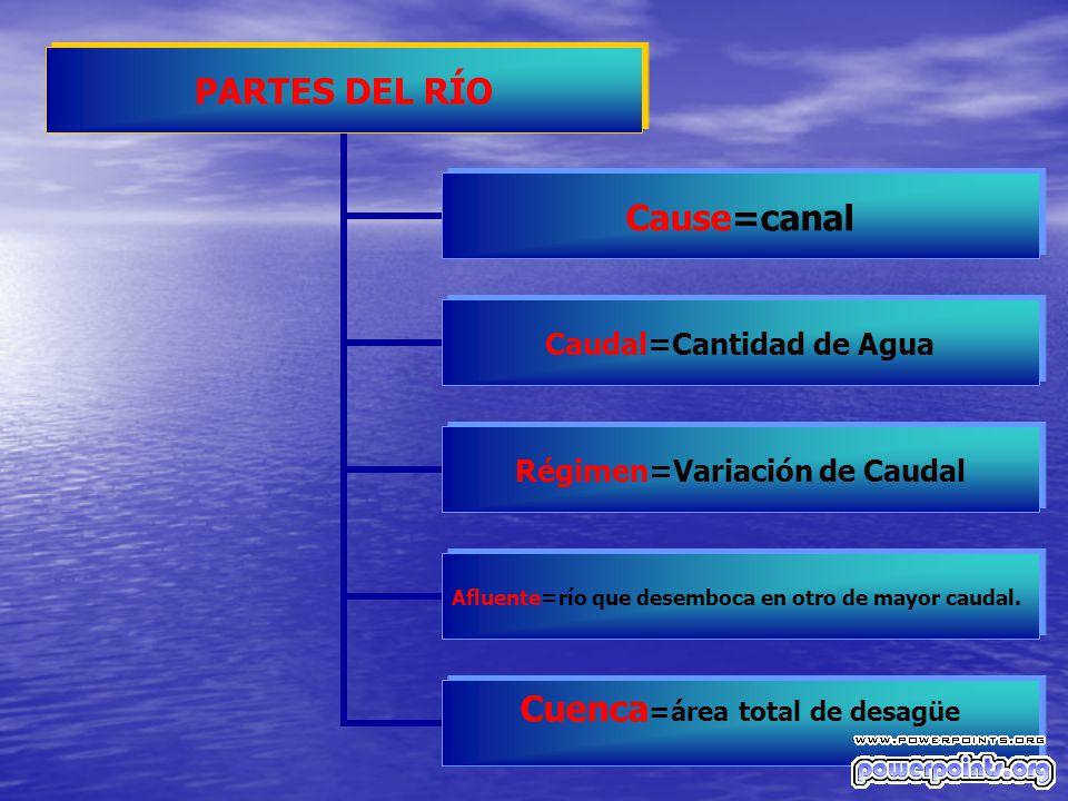 PARTES DEL RÍO Cause=canal Caudal=Cantidad de Agua Régimen=Variación de Caudal Afluente=río que desemboca en otro de mayor caudal. Cuenca=área total d