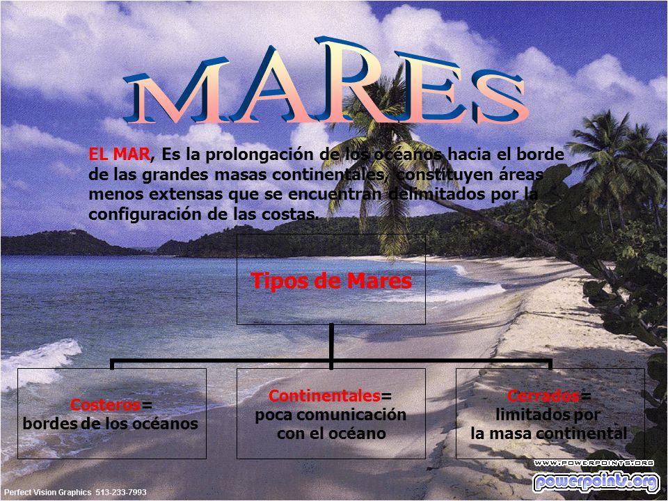 EL MAR, Es la prolongación de los océanos hacia el borde de las grandes masas continentales, constituyen áreas menos extensas que se encuentran delimi