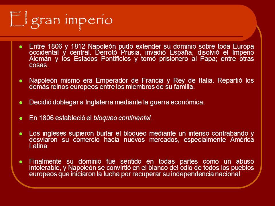 El gran imperio Entre 1806 y 1812 Napoleón pudo extender su dominio sobre toda Europa occidental y central. Derrotó Prusia, invadió España, disolvió e