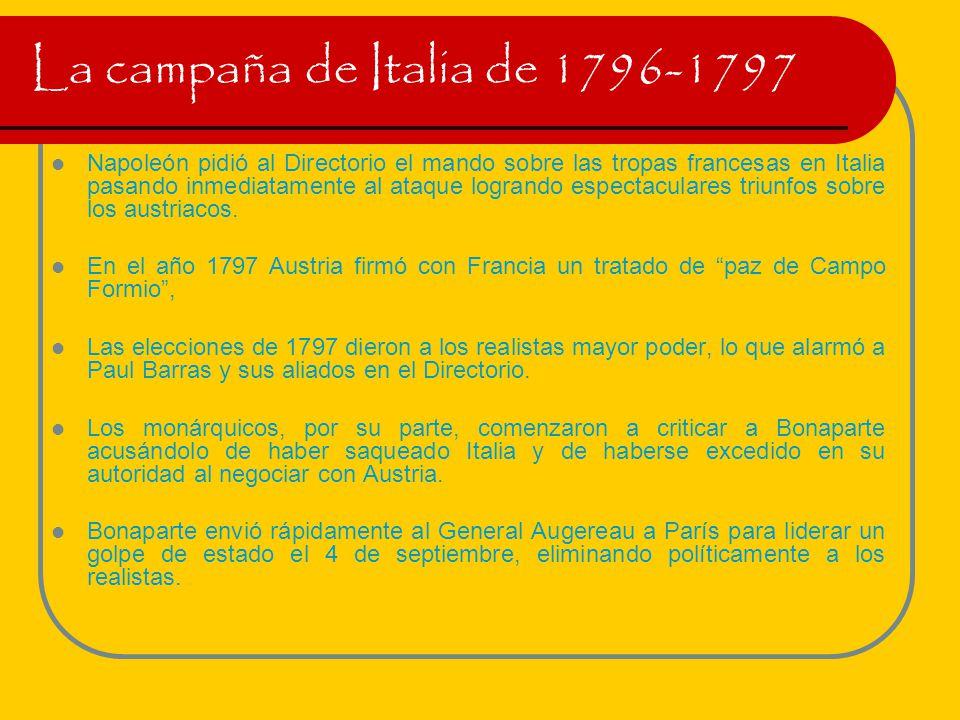 La campaña de Italia de 1796-1797 Napoleón pidió al Directorio el mando sobre las tropas francesas en Italia pasando inmediatamente al ataque logrando