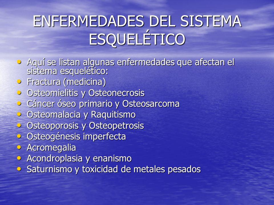 ENFERMEDADES DEL SISTEMA ESQUELÉTICO Aquí se listan algunas enfermedades que afectan el sistema esquelético: Aquí se listan algunas enfermedades que a