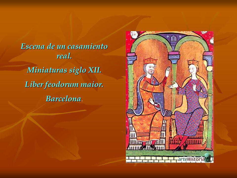 Escena de un casamiento real. Miniaturas siglo XII. Liber feodorum maior. Barcelona Barcelona.