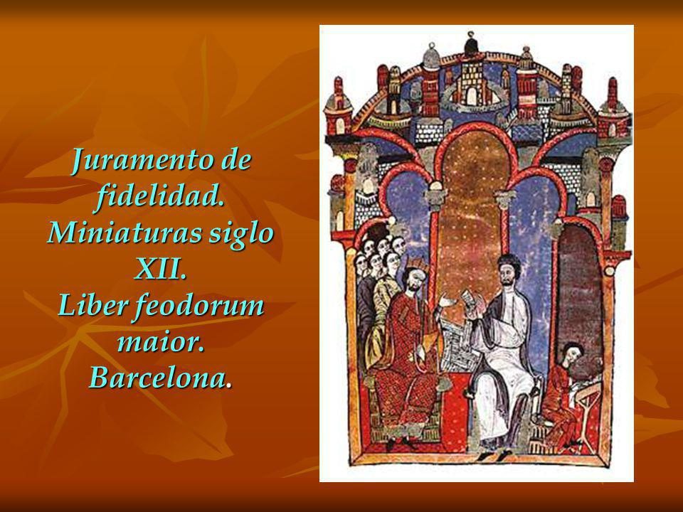 Juramento de fidelidad. Miniaturas siglo XII. Liber feodorum maior. Barcelona.