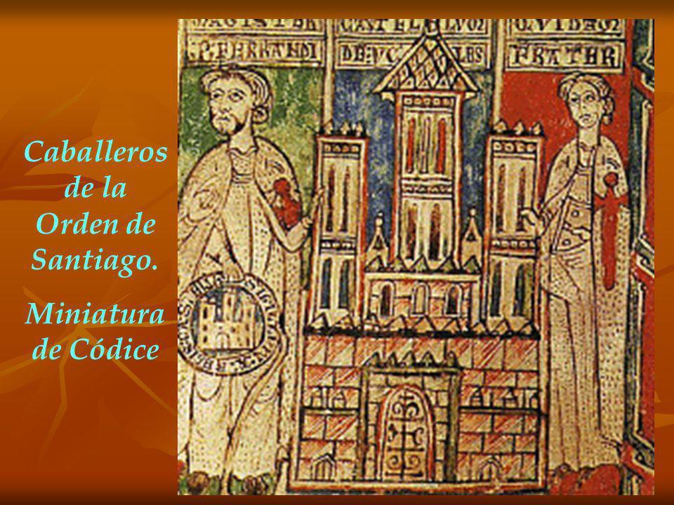 Caballeros de la Orden de Santiago. Miniatura de Códice