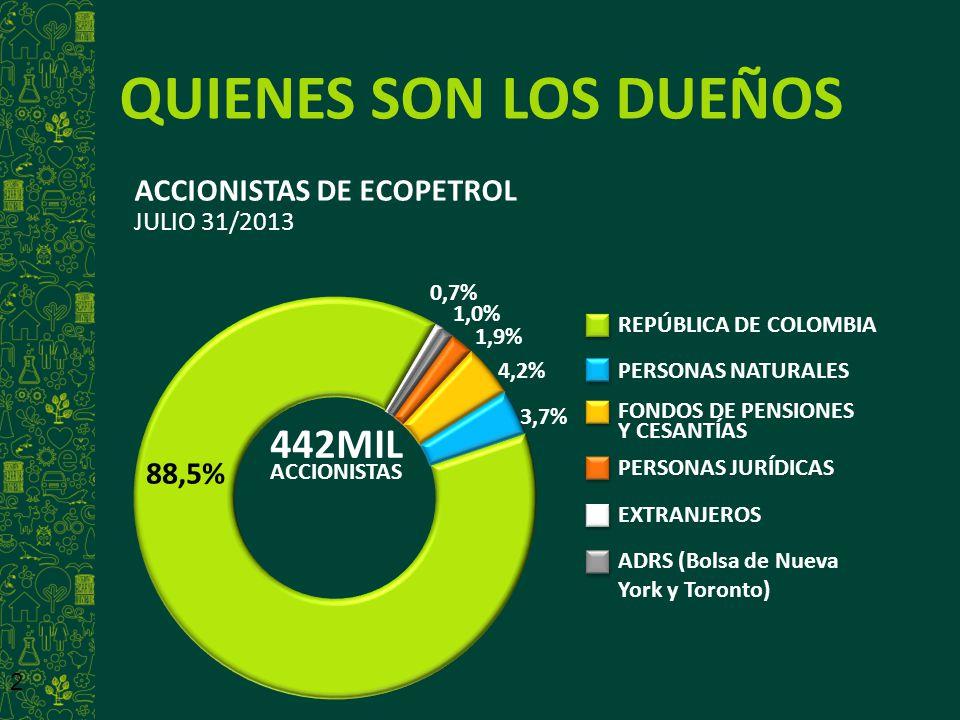 2 QUIENES SON LOS DUEÑOS ACCIONISTAS DE ECOPETROL JULIO 31/2013 442MIL ACCIONISTAS REPÚBLICA DE COLOMBIA PERSONAS NATURALES FONDOS DE PENSIONES Y CESA
