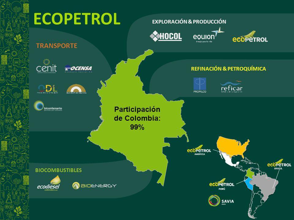 ECOPETROL EXPLORACIÓN & PRODUCCIÓN REFINACIÓN & PETROQUÍMICA BIOCOMBUSTIBLES TRANSPORTE Participación de Colombia: 99%