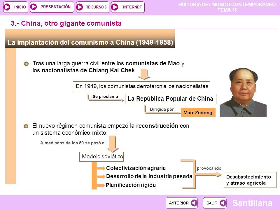 HISTORIA DEL MUNDO CONTEMPORÁNEO TEMA 15 RECURSOSINTERNETPRESENTACIÓN Santillana INICIO 3.- China, otro gigante comunista La implantación del comunism