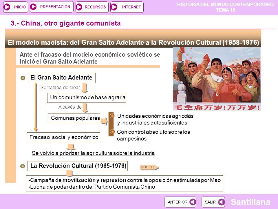HISTORIA DEL MUNDO CONTEMPORÁNEO TEMA 15 RECURSOSINTERNETPRESENTACIÓN Santillana INICIO El modelo maoísta: del Gran Salto Adelante a la Revolución Cul