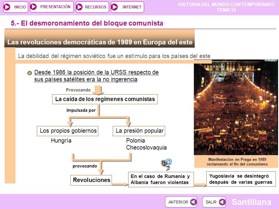 HISTORIA DEL MUNDO CONTEMPORÁNEO TEMA 15 RECURSOSINTERNETPRESENTACIÓN Santillana INICIO Las revoluciones democráticas de 1989 en Europa del este La de