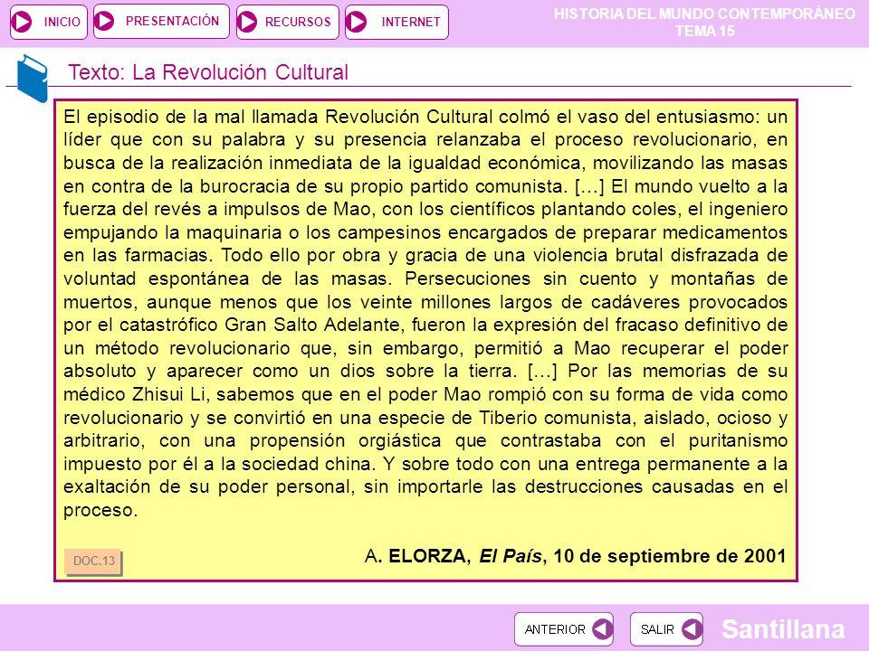 HISTORIA DEL MUNDO CONTEMPORÁNEO TEMA 15 RECURSOSINTERNETPRESENTACIÓN Santillana INICIO Texto: La Revolución Cultural El episodio de la mal llamada Re