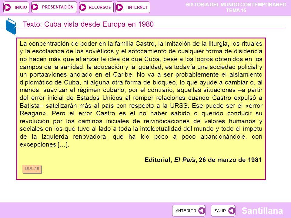 HISTORIA DEL MUNDO CONTEMPORÁNEO TEMA 15 RECURSOSINTERNETPRESENTACIÓN Santillana INICIO Texto: Cuba vista desde Europa en 1980 La concentración de pod