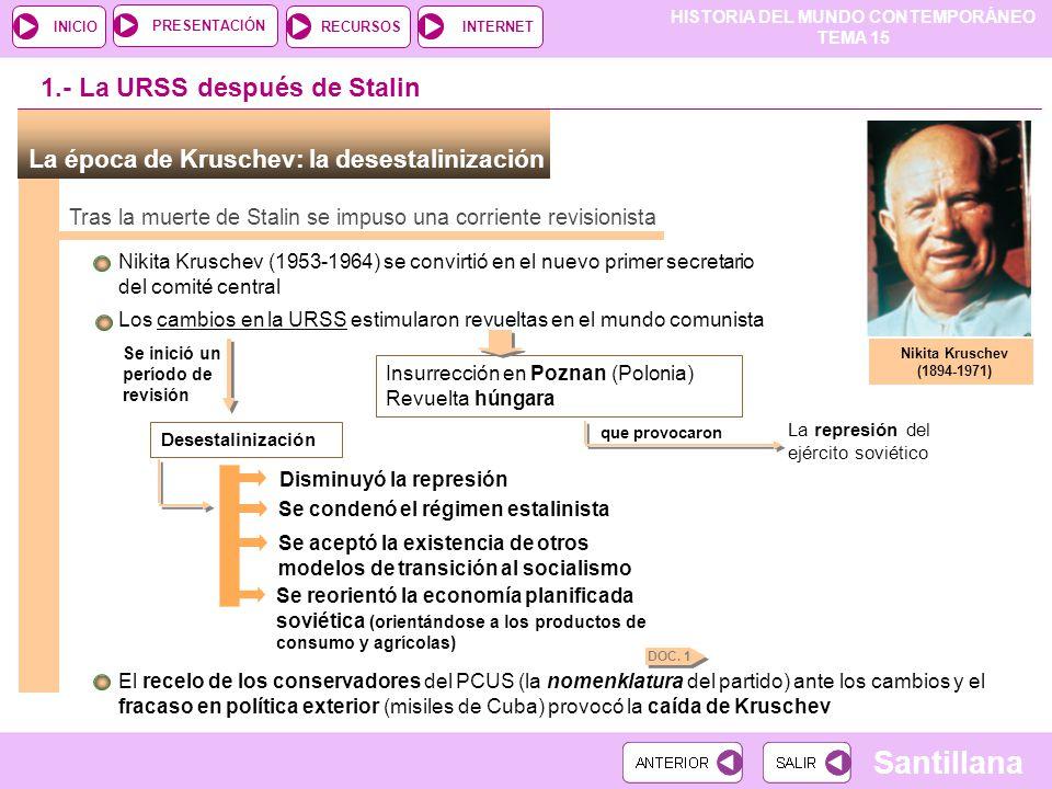 HISTORIA DEL MUNDO CONTEMPORÁNEO TEMA 15 RECURSOSINTERNETPRESENTACIÓN Santillana INICIO La época de Kruschev: la desestalinización Tras la muerte de S