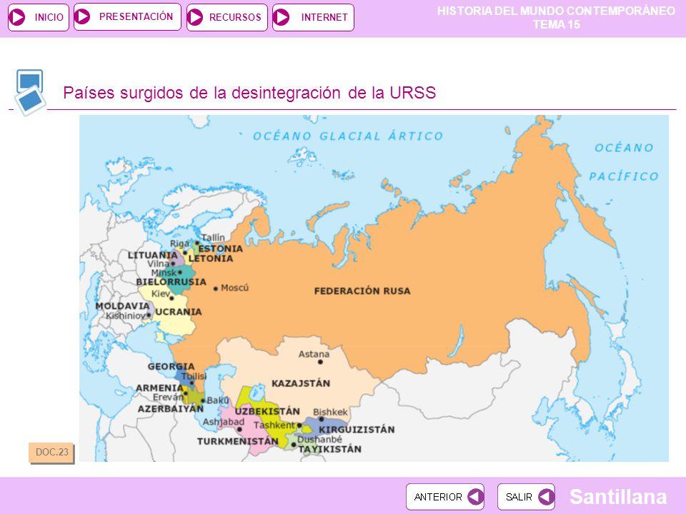 HISTORIA DEL MUNDO CONTEMPORÁNEO TEMA 15 RECURSOSINTERNETPRESENTACIÓN Santillana INICIO Países surgidos de la desintegración de la URSS DOC.23