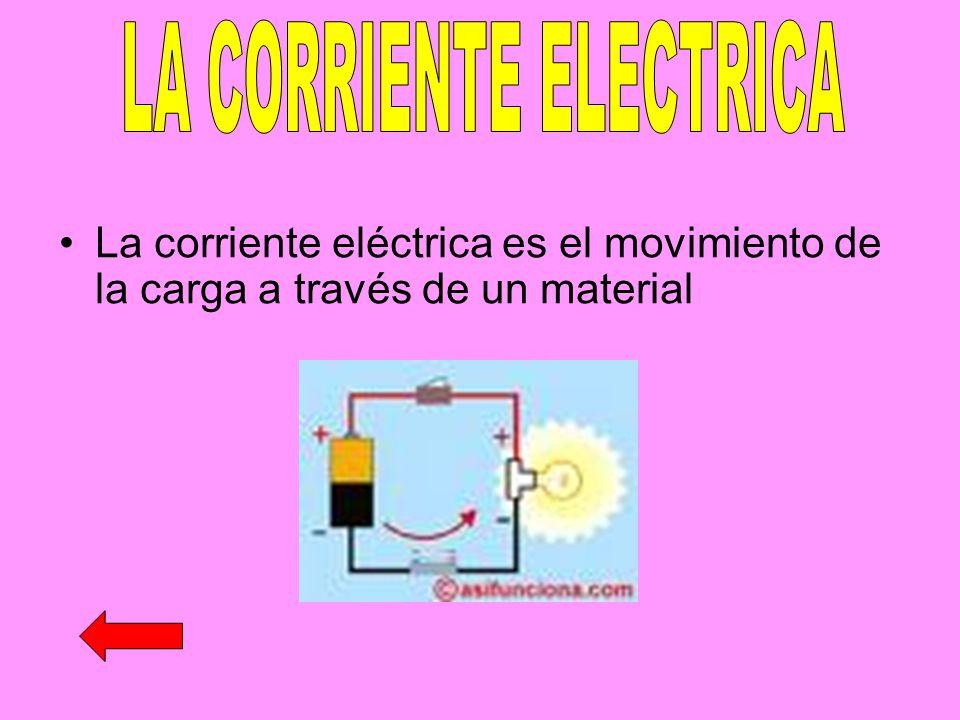 La corriente eléctrica es el movimiento de la carga a través de un material