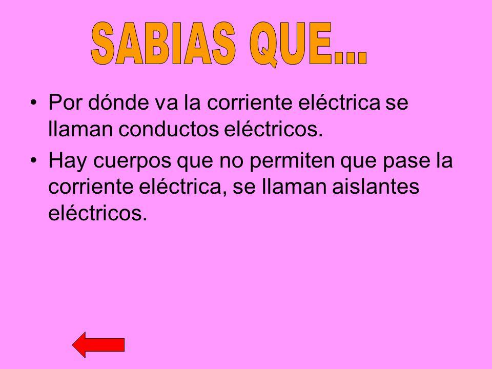 Por dónde va la corriente eléctrica se llaman conductos eléctricos. Hay cuerpos que no permiten que pase la corriente eléctrica, se llaman aislantes e