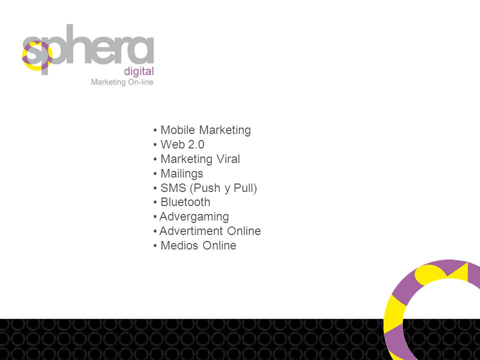 Mobile Marketing Web 2.0 Marketing Viral Mailings SMS (Push y Pull) Bluetooth Advergaming Advertiment Online Medios Online