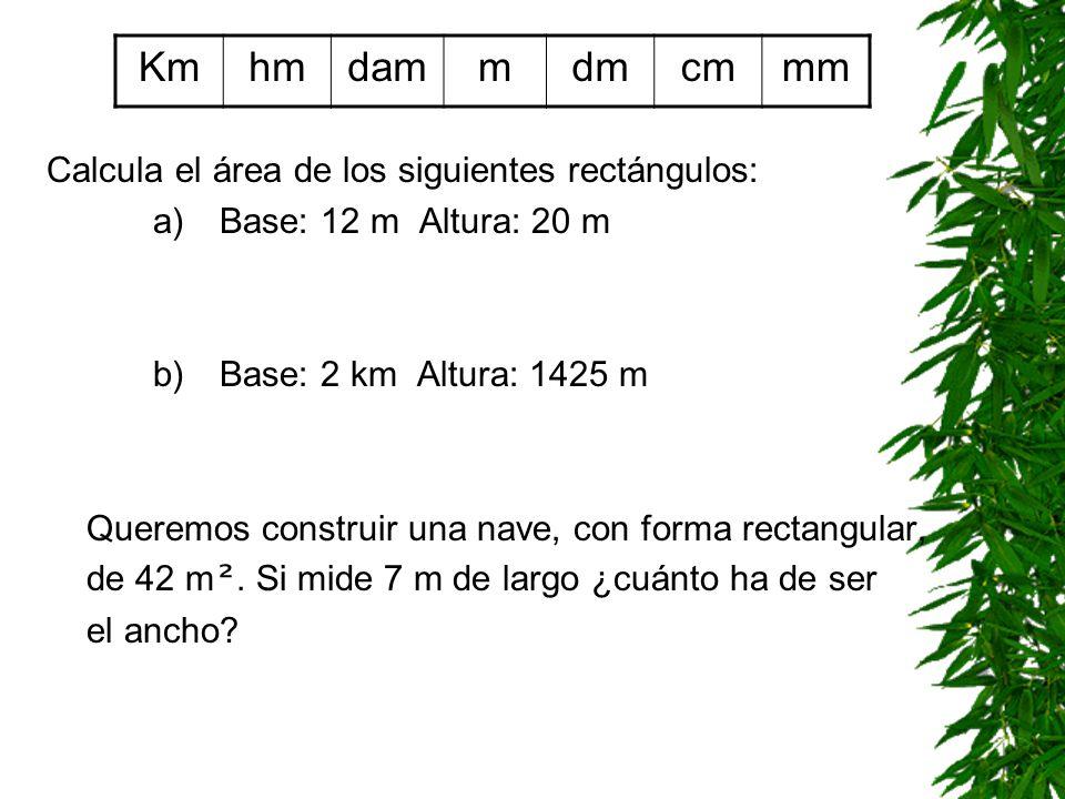 ÁREA DEL RECTÁNGULO A rec = base · altura base altura Km 2 hm 2 dam 2 m2m2 dm 2 cm 2 mm 2