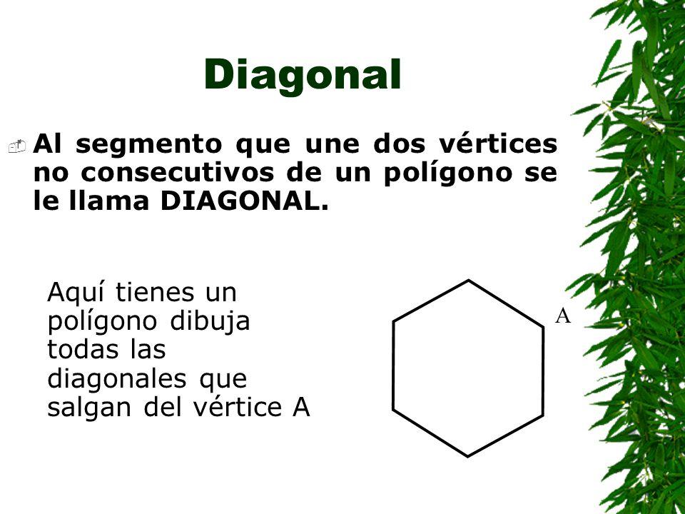 LADO Y VÉRTICE A cada uno de los segmentos que limita el polígono se le llama LADO del polígono, y al punto donde se unen dos lados se le llama VÉRTICE del polígono.