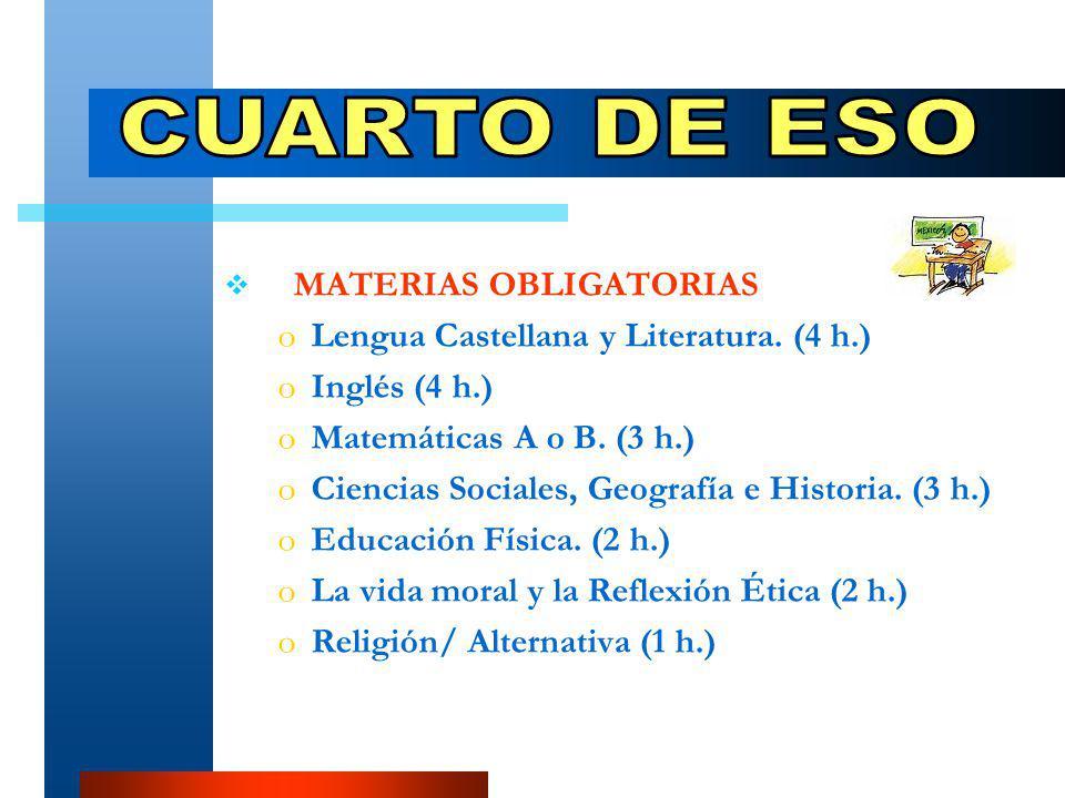 MATERIAS OBLIGATORIAS oLoLengua Castellana y Literatura.