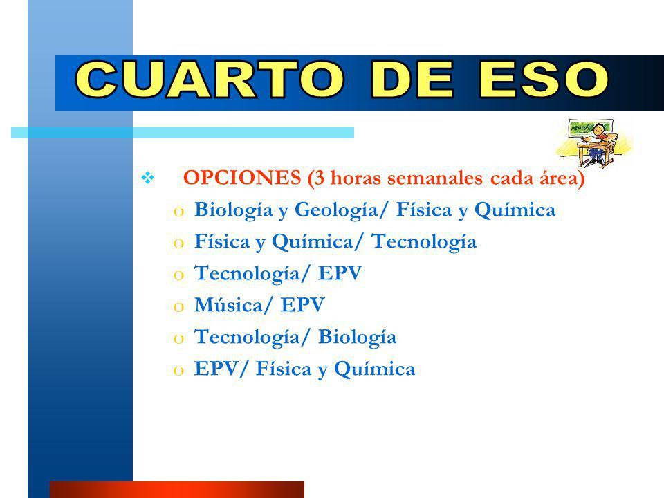 OPCIONES (3 horas semanales cada área) oBoBiología y Geología/ Física y Química oFoFísica y Química/ Tecnología oToTecnología/ EPV oMoMúsica/ EPV oToTecnología/ Biología oEoEPV/ Física y Química
