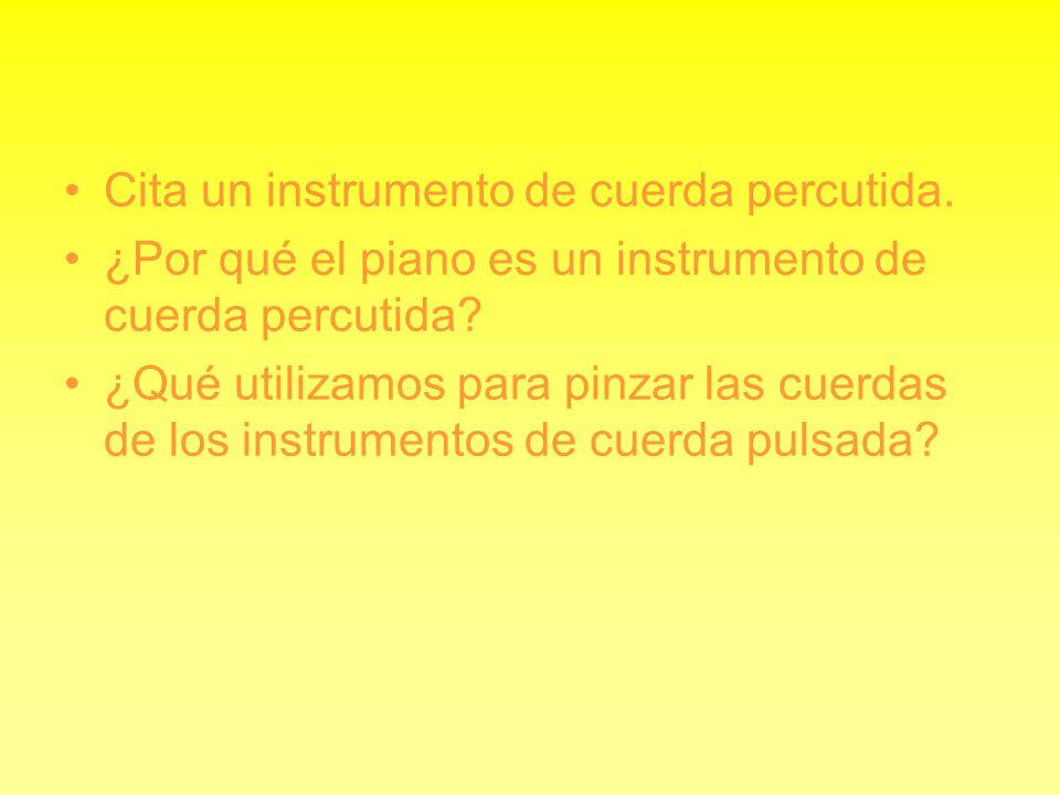 Cita un instrumento de cuerda percutida. ¿Por qué el piano es un instrumento de cuerda percutida? ¿Qué utilizamos para pinzar las cuerdas de los instr