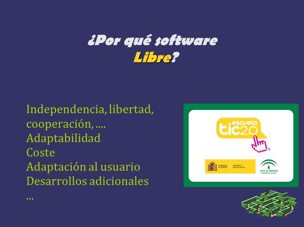 Libre ¿Por qué software Libre? Independencia, libertad, cooperación,.... Adaptabilidad Coste Adaptación al usuario Desarrollos adicionales...