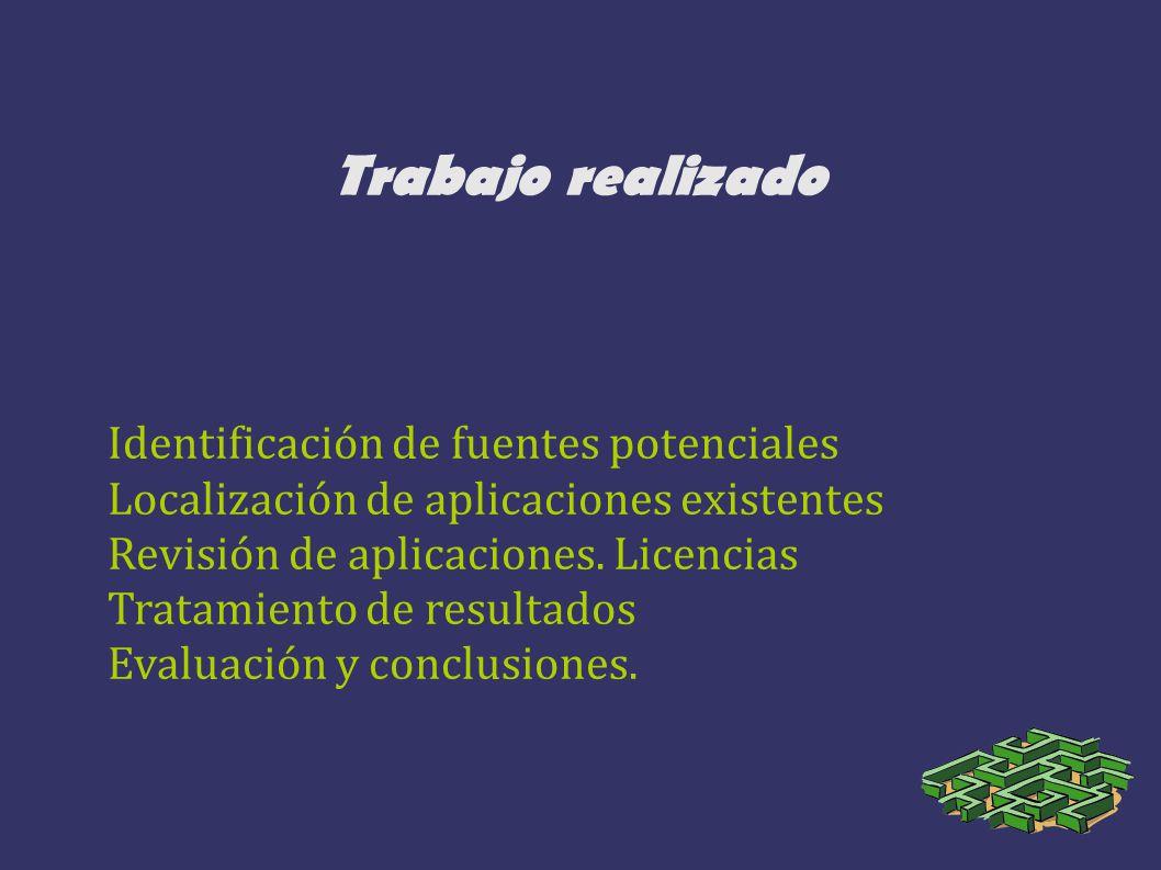 Trabajo realizado Identificación de fuentes potenciales Localización de aplicaciones existentes Revisión de aplicaciones. Licencias Tratamiento de res