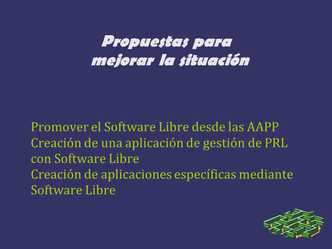 Propuestas para mejorar la situación Promover el Software Libre desde las AAPP Creación de una aplicación de gestión de PRL con Software Libre Creació