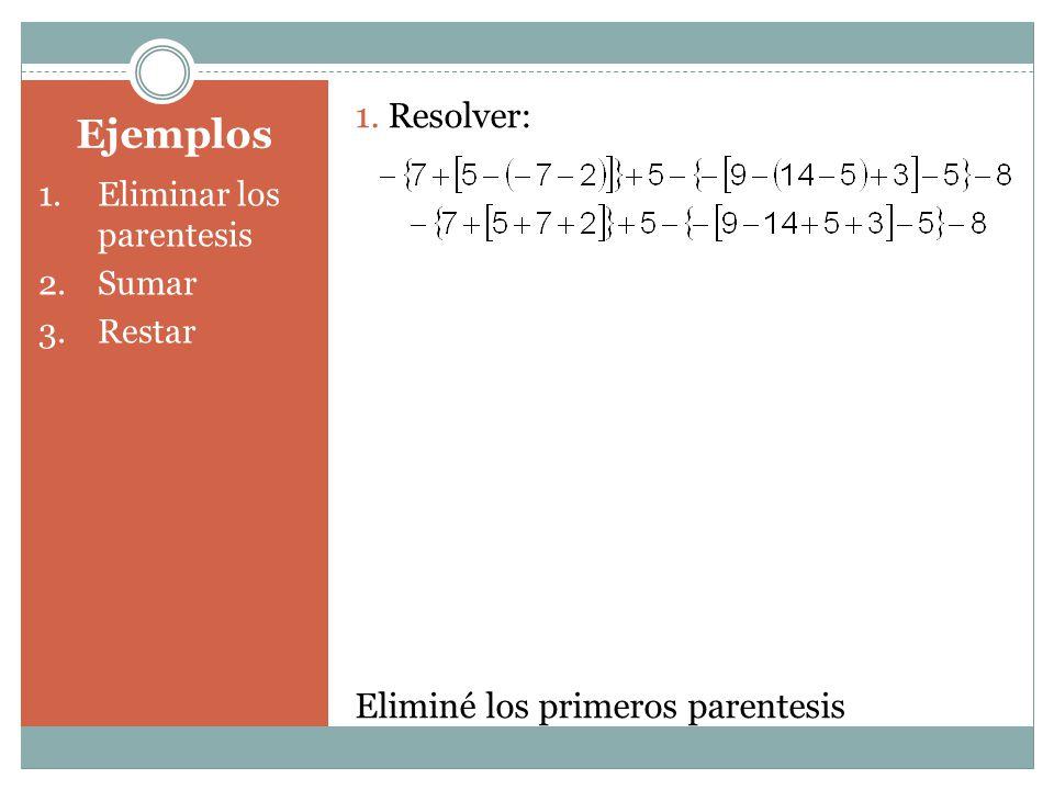 Ejemplos 1.Eliminar los parentesis 2.Sumar 3.Restar 1. Resolver: Eliminé los primeros parentesis