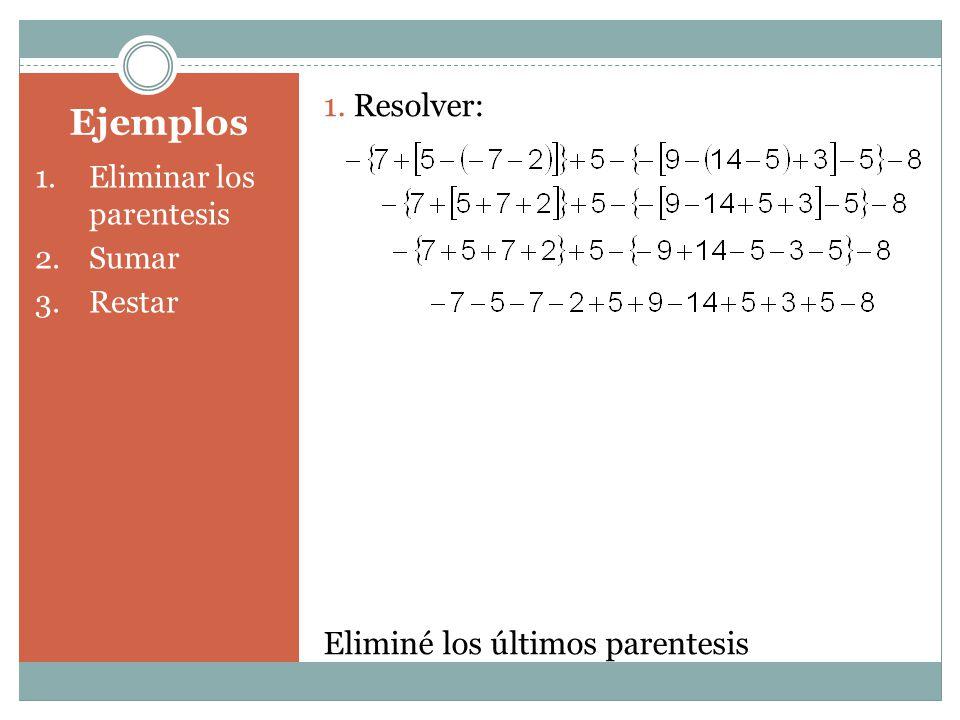 Ejemplos 1.Eliminar los parentesis 2.Sumar 3.Restar 1. Resolver: Eliminé los últimos parentesis