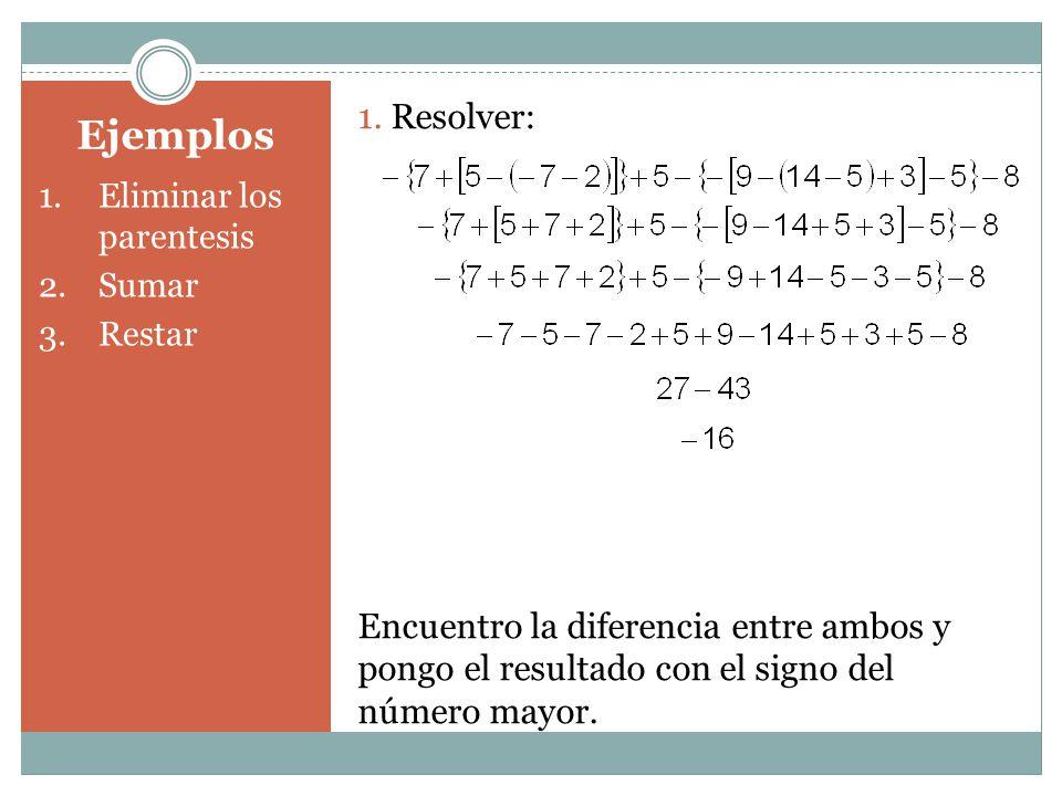Ejemplos 1.Eliminar los parentesis 2.Sumar 3.Restar 1. Resolver: Encuentro la diferencia entre ambos y pongo el resultado con el signo del número mayo