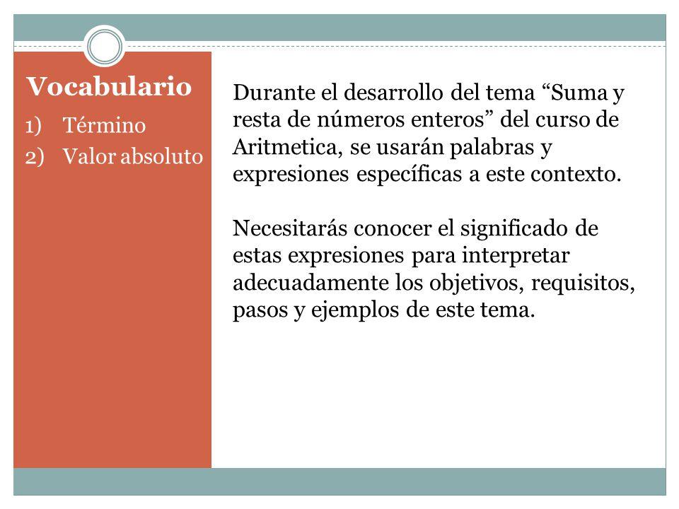 Vocabulario 1)Término 2)Valor absoluto Durante el desarrollo del tema Suma y resta de números enteros del curso de Aritmetica, se usarán palabras y ex