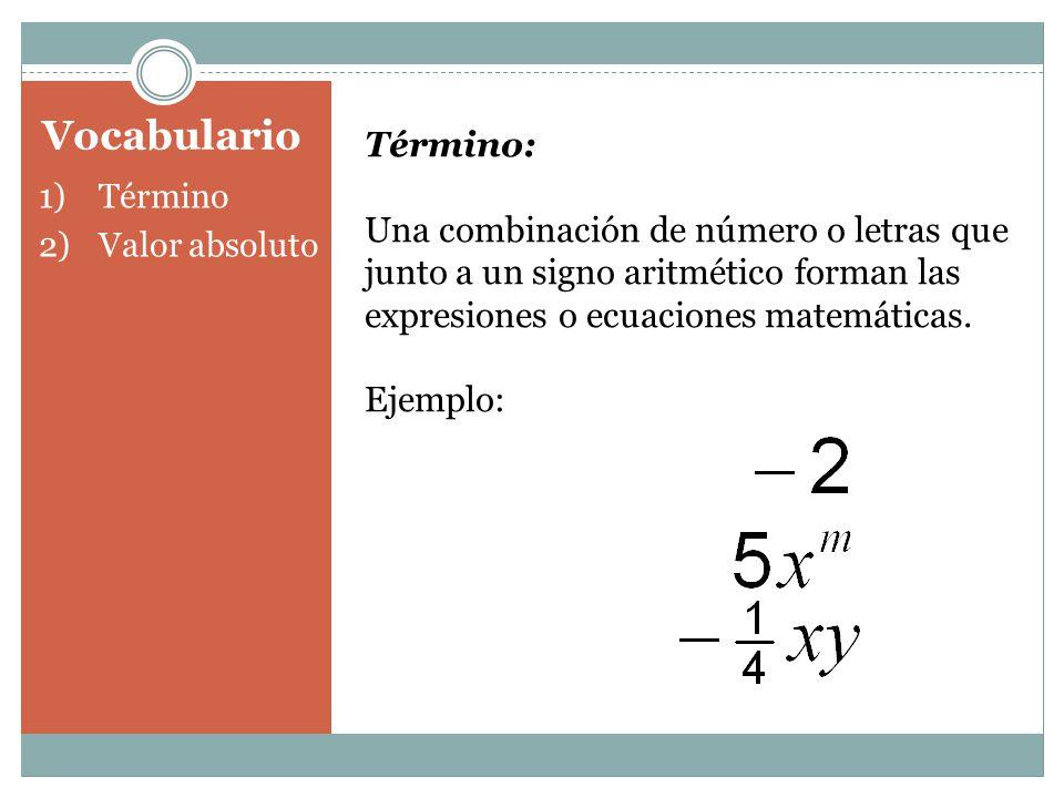 Vocabulario 1)Término 2)Valor absoluto Término: Una combinación de número o letras que junto a un signo aritmético forman las expresiones o ecuaciones