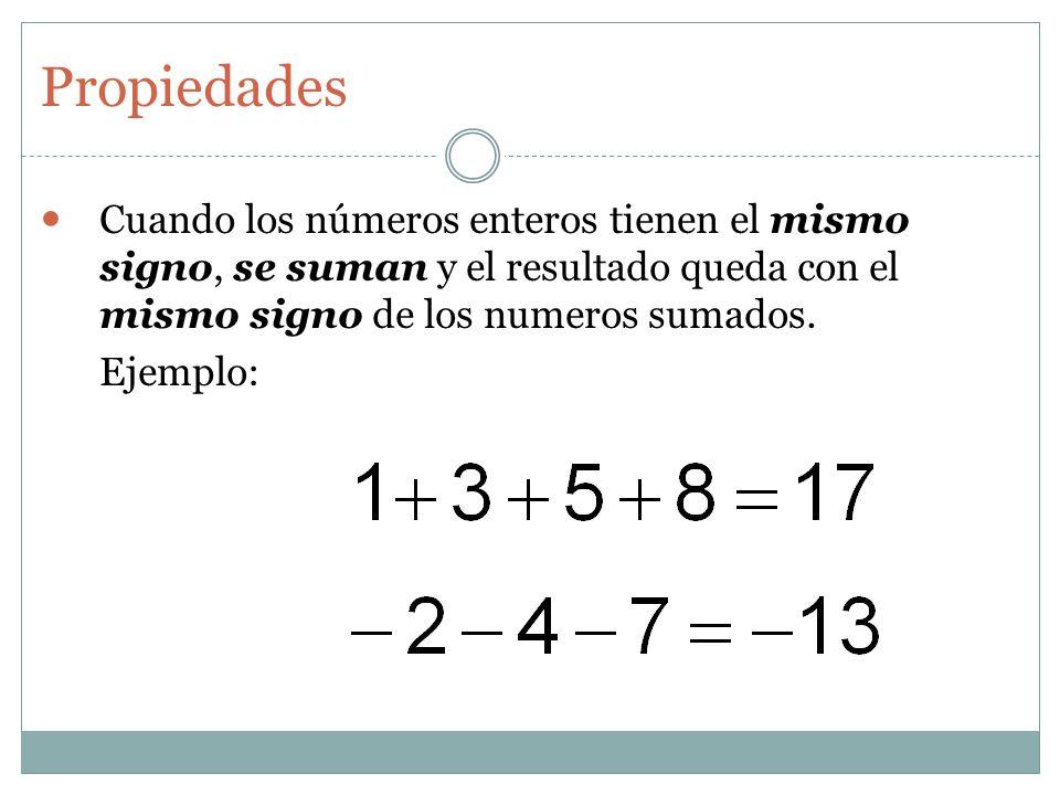 Propiedades Cuando los números enteros tienen el mismo signo, se suman y el resultado queda con el mismo signo de los numeros sumados. Ejemplo: