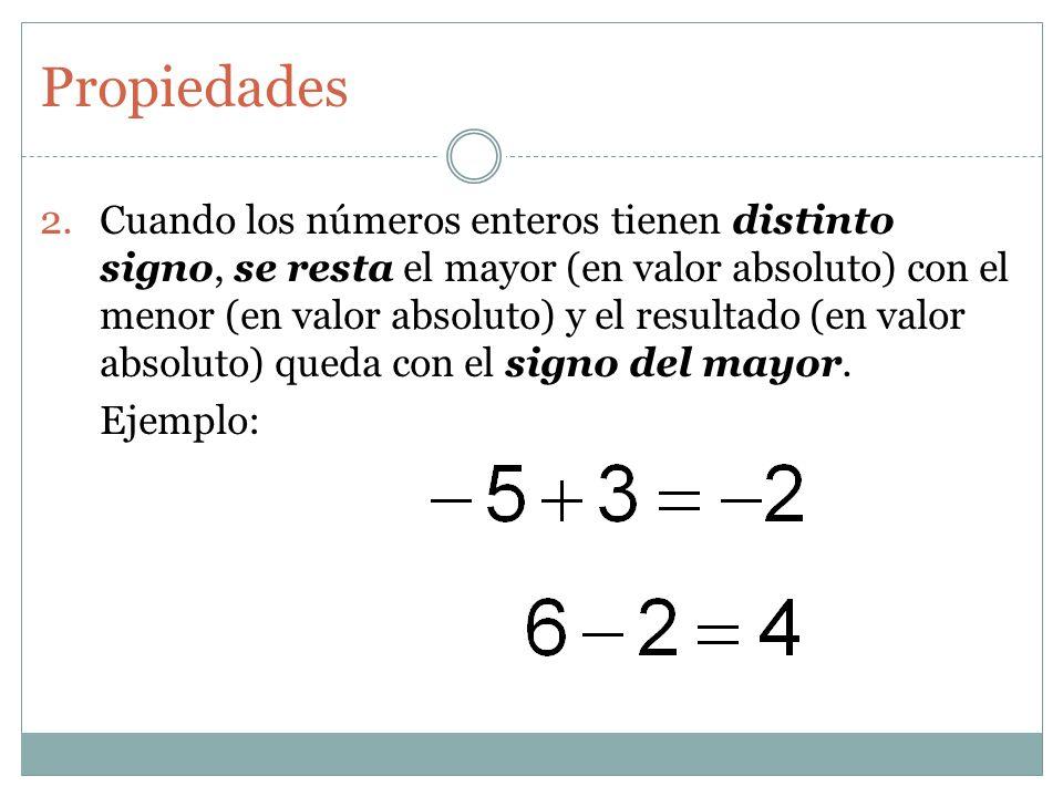 Propiedades 2.Cuando los números enteros tienen distinto signo, se resta el mayor (en valor absoluto) con el menor (en valor absoluto) y el resultado
