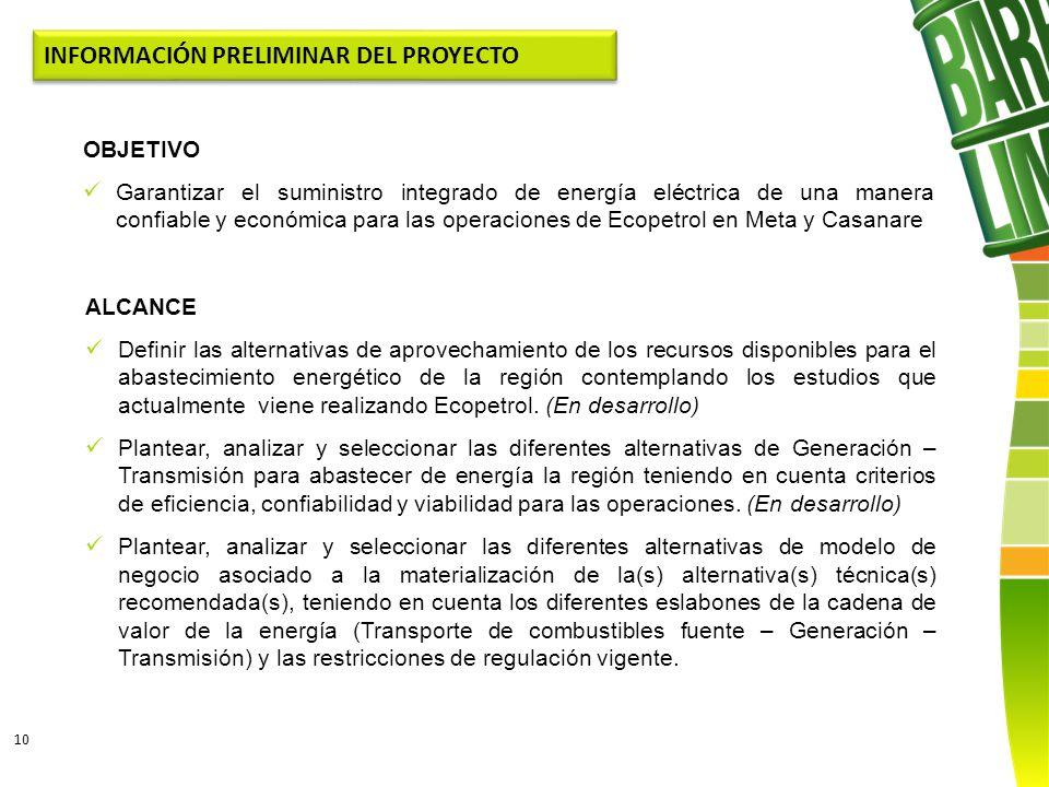 10 ALCANCE Definir las alternativas de aprovechamiento de los recursos disponibles para el abastecimiento energético de la región contemplando los est