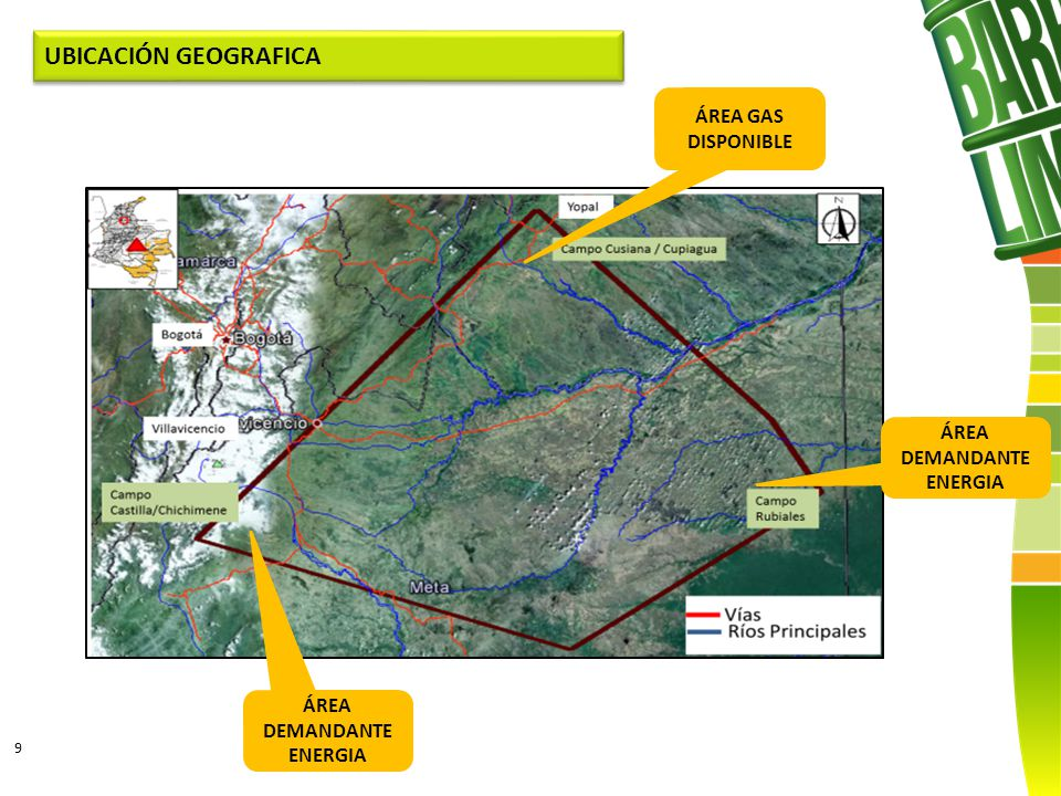 9 UBICACIÓN GEOGRAFICA ÁREA GAS DISPONIBLE ÁREA DEMANDANTE ENERGIA ÁREA DEMANDANTE ENERGIA