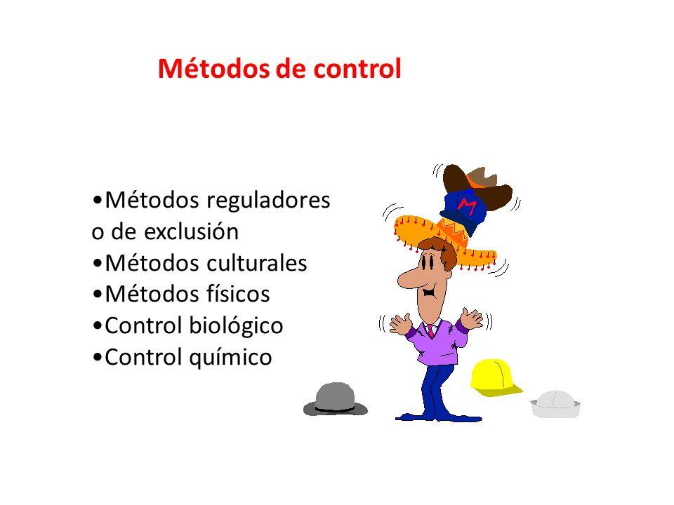 Métodos de control Métodos reguladores o de exclusión Métodos culturales Métodos físicos Control biológico Control químico