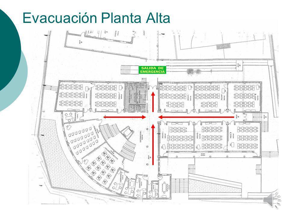 VÍAS DE EVACUACIÓN Las aulas que se encuentren en la Planta Alta seguirán las vías de evacuación que aparecen marcadas en el siguiente plano. La SALID