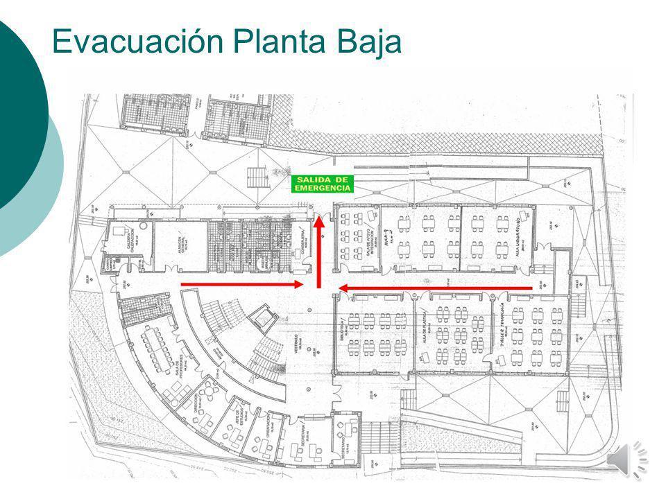 VÍAS DE EVACUACIÓN Las aulas que se encuentren en la Planta Baja seguirán las vías de evacuación que aparecen marcadas en el siguiente plano. La SALID