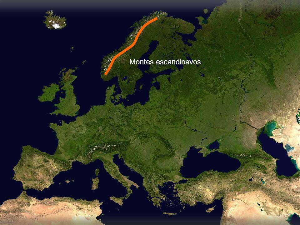 Llanura atlántica Llanura central Llanura báltica Llanura de la Europa oriental Cáucaso Montes Escandinavos Montes Urales Macizos y mesetas Pirineos Alpes Cárpatos Balcanes Apeninos Alpes Dináricos